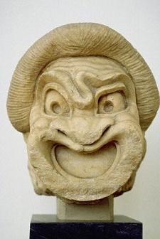 Комическая театральная маска раба. (Фото Ruggero Vanni / CORBIS.)